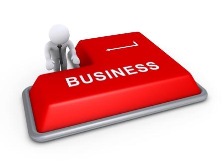 tecla enter: 3d hombre de negocios está a punto de pulsar el botón del teclado de negocios