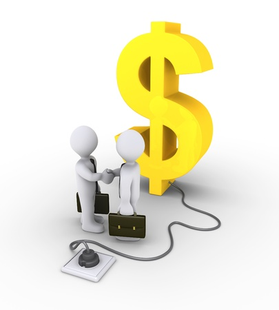 plugged: 3d dollar symbol is plugged in and businessmen shake hands Stock Photo