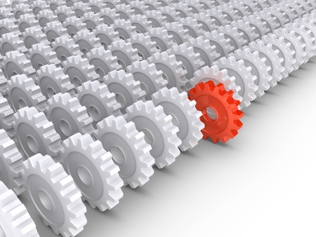 3d cogwheels in rows and one in front Stok Fotoğraf