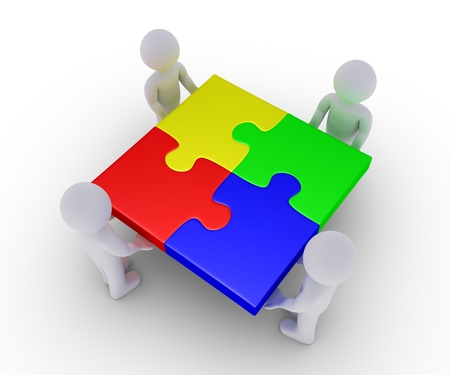 Four 3d people are holding connected puzzle pieces photo
