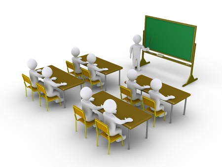 3d people are in a classroom and a teacher Stock Photo