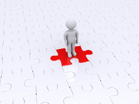 3d person is standing on a red puzzle piece photo