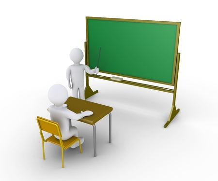 private schools: 3d person sitting on chair and another is teaching