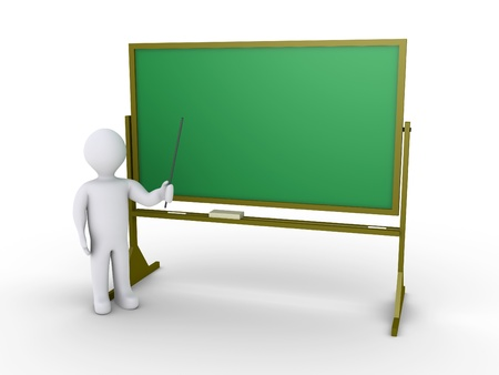 one on one meeting: 3d person as teacher is in front of chalkboard Stock Photo