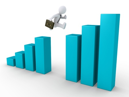 3d businessman is jumping from one side of the chart to the other Stock Photo