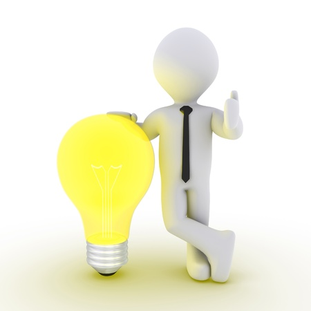3d businessman leaning on a light bulb beside him