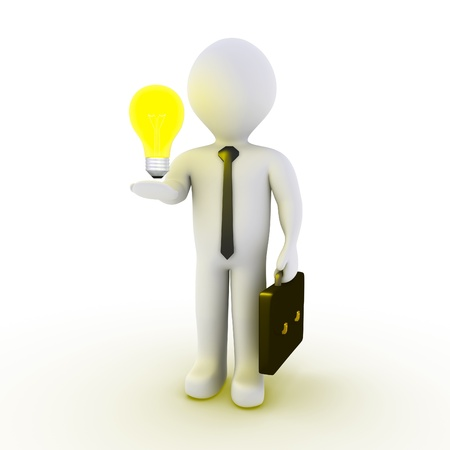 3d businessman with a light bulb on his hand
