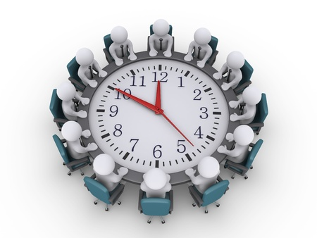 around the clock: 3d businessmen sitting around a clock used as table