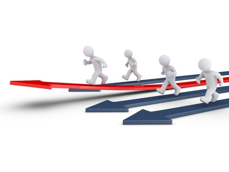 defining: 3d people are running on arrows and one is rising defining the leader