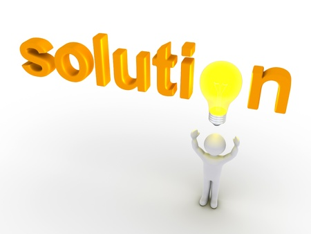 replacing: 3d light bulb replacing letter of solution word and a person below it