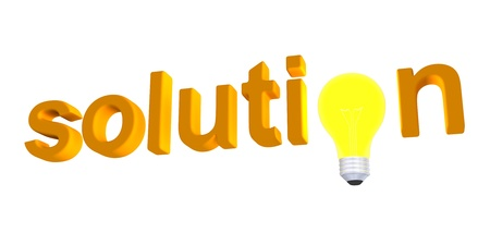 replacing: 3d light bulb replacing letter of solution word Stock Photo