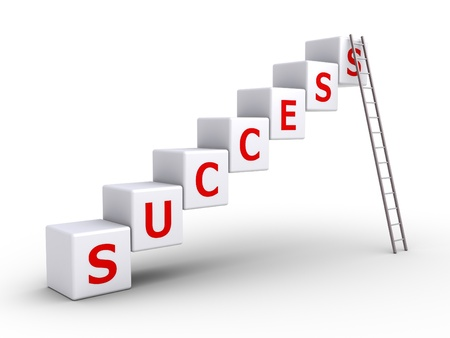 high way: 3d cubes forming success word and a ladder leaning on the last cube Stock Photo