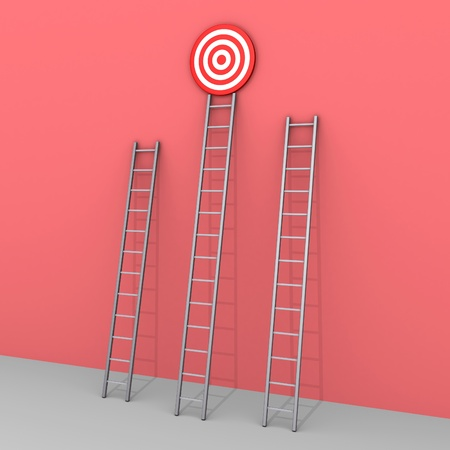 3d ladders but only the bigger leads to the target photo