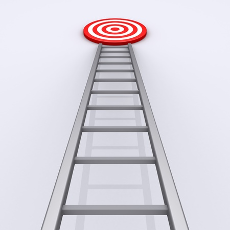 3d ladder with target on the top of it photo
