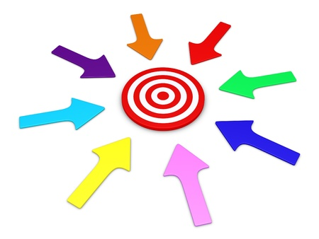 pointing arrows: Different arrows around a target pointing to the center Stock Photo