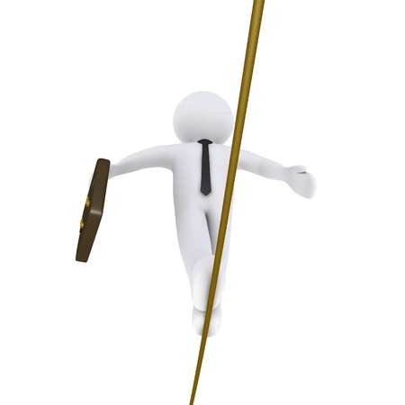 3d businessman is walking on a tightrope holding a suitcase photo