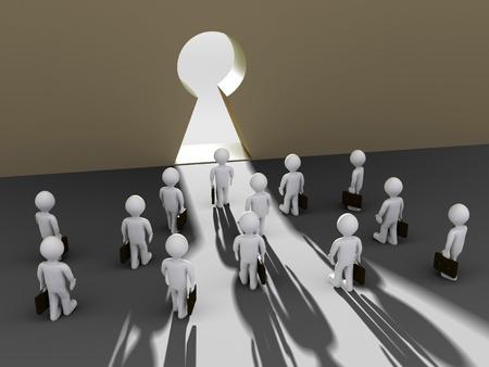 Many 3d businessmen are walking towards the keyhole opening photo