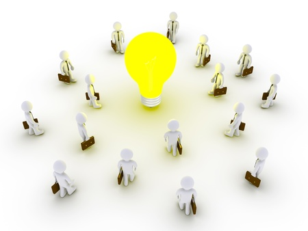 Many 3d businessmen are being drawn by light bulb Stock Photo - 20334609