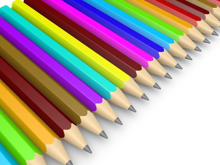 aligned: Many different colored pencils aligned next to each other