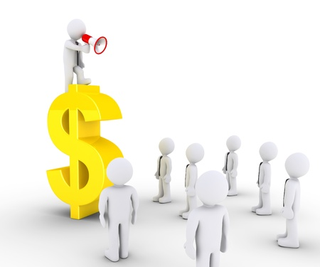 calling: 3d businessman with megaphone on a dollar symbol is speaking to others