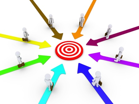 different goals: Businessmen on different paths are walking towards the target at the center