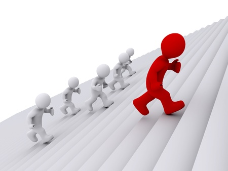 different goals: 3d people are running on stairs, but one is ahead Stock Photo