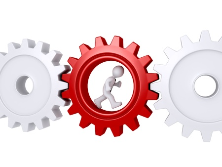 3d worker with tie is running inside of a cogwheel Stock Photo - 20727875