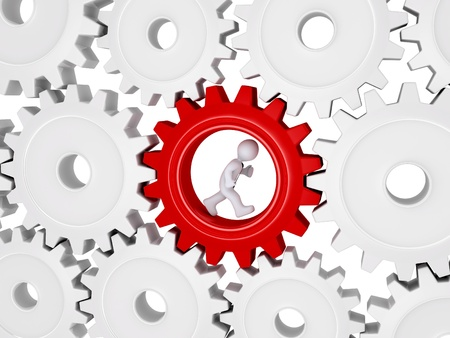 3d worker with tie is running inside of one cogwheel out of many Stock Photo - 20727876