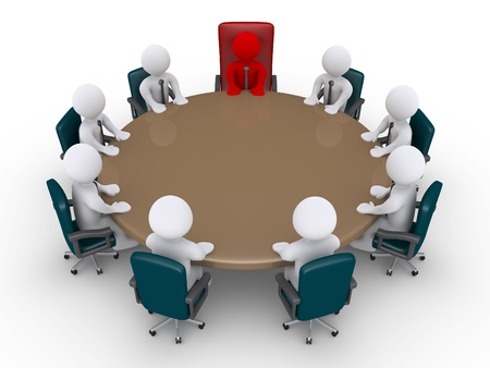 3d businessmen and boss around table as in a meeting Stock Photo - 20936602