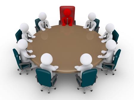 Hommes d'affaires 3d et le patron autour de la table que dans une réunion