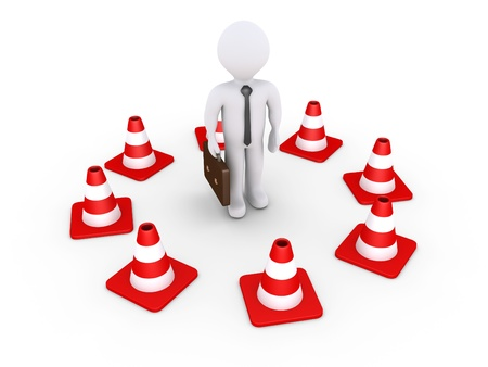 boundaries: 3d businessman is surrounded by traffic cones