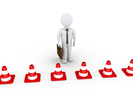 3d businessman is behind traffic cones Stock Photo - 20936604