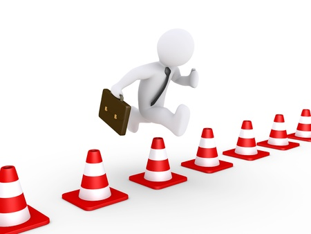 overcoming: 3d businessman is jumping over traffic cones