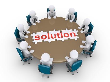 Hommes d'affaires 3d autour d'une table et un puzzle fini de solution