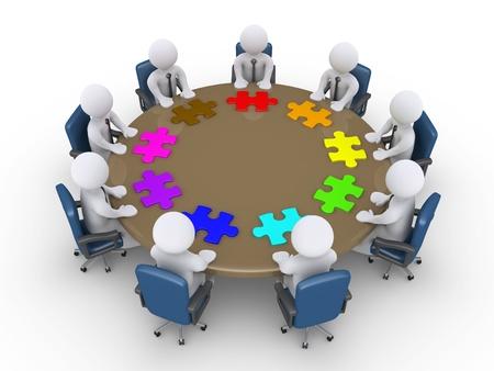 3d zakenlieden rond de tafel en de verschillende puzzelstukjes voor hen Stockfoto