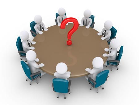 meeting table: 3d businessmen around table and a question mark in the middle