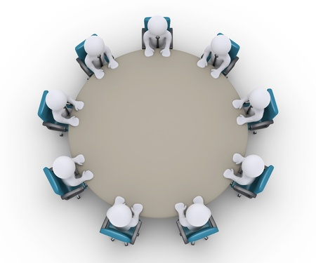 Hombres de negocios 3d están sentados alrededor de una mesa, como una reunión de oficina Foto de archivo - 21654259