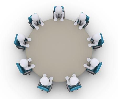 Uomini d'affari 3d sono seduti attorno a un tavolo, come una riunione di ufficio