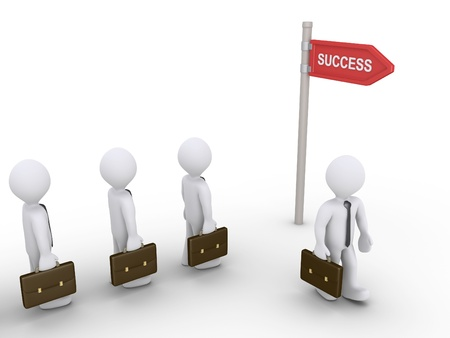 right choice: 3d businessmen go to the way of success sign
