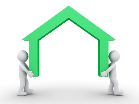 Twee 3d mensen die een huis symbool Stockfoto