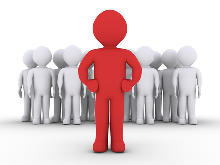 community recognition: 3d people in a group and their leader in front of them Stock Photo