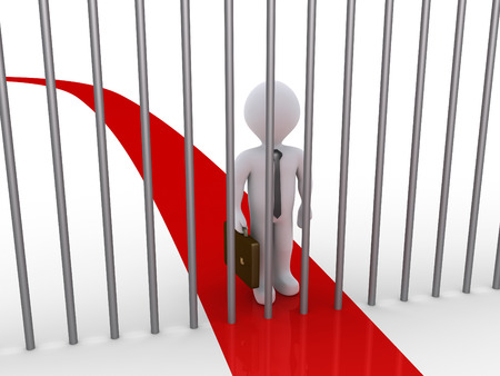 blocked: 3d businessman is blocked by metal bars that are on his path Stock Photo