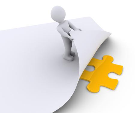 3D Person findet die fehlende Puzzle-Stück unter einem Blatt Papier Standard-Bild
