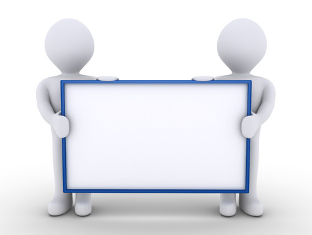 blank poster: Two 3d people as one team are holding a blank sign