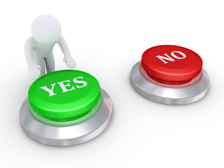 3d person is about to press the Yes button rather than the No button Stock Photo