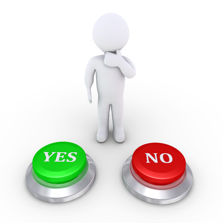 yes or no: 3d person is behind one Yes button and one No button