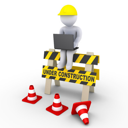 setup man: 3d worker with laptop is sitting on an under construction sign