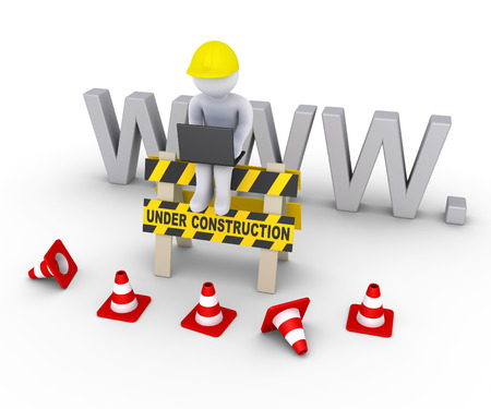 under construction: 3d worker with laptop is sitting on an under construction sign in front of www letters Stock Photo