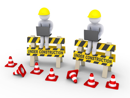 setup man: 3d workers with laptops are sitting on two under construction signs