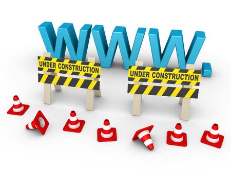 3d www letters zijn achter twee in aanbouw ondertekent